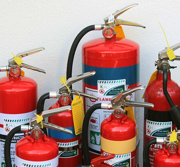 Fire extinguishers, signs and blankets